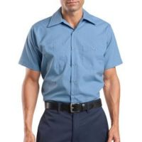 Short Sleeve Striped Industrial Work Shirt Thumbnail