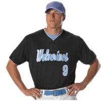 Two Button Mesh Baseball Jersey With Piping Thumbnail